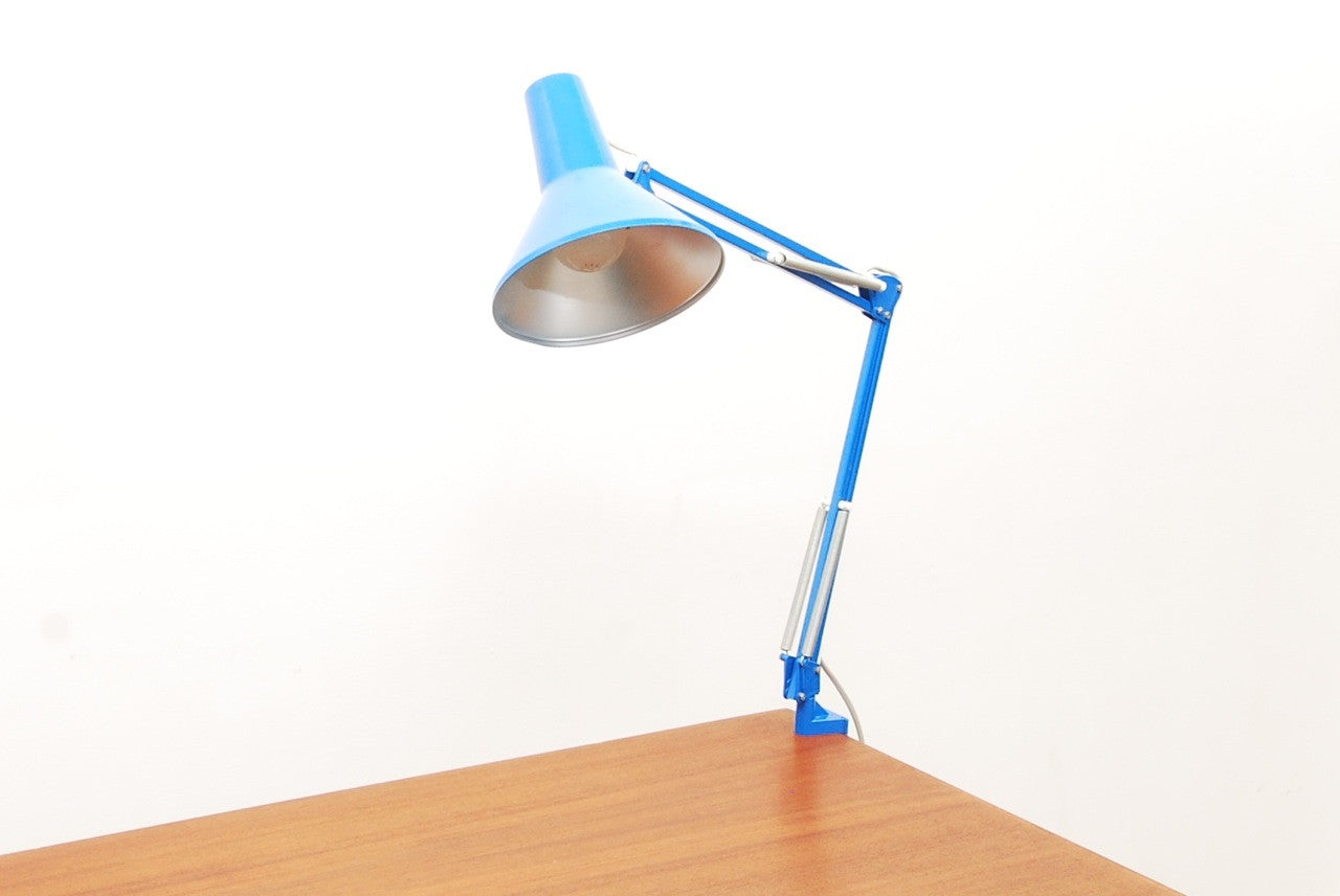 Blue anglepoise lamp by VDE