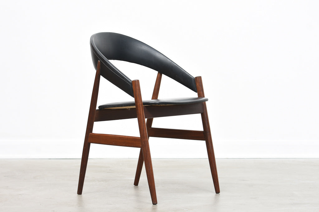 1960s teak + vinyl chair with curved back
