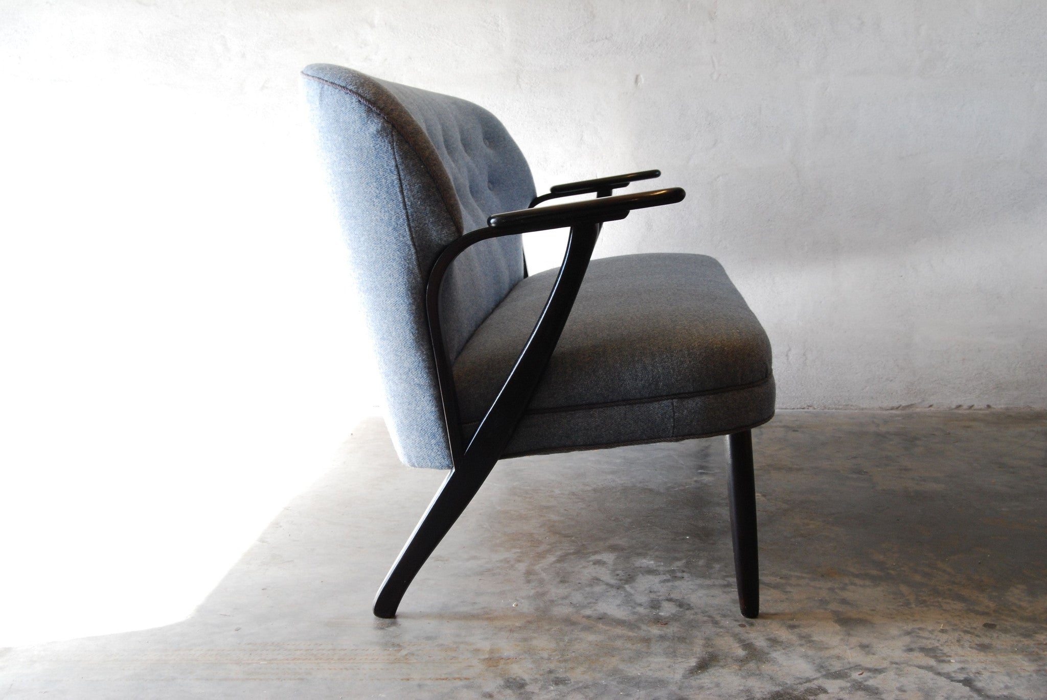 Chase & Sorensen Two seater with ebonised armrests/legs