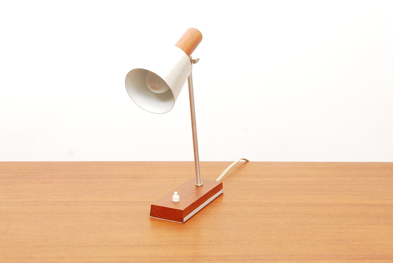 Teak / brushed chrome desk lamp
