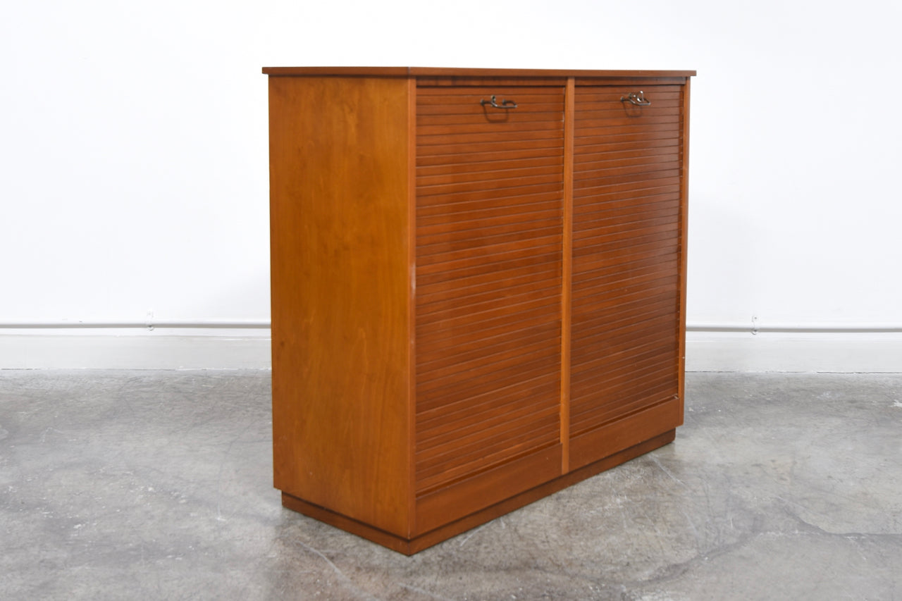1950s beech filing cabinet