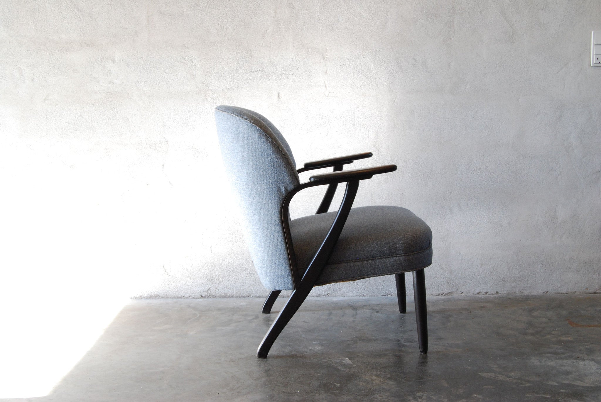 Lounge chair in ebonised beech