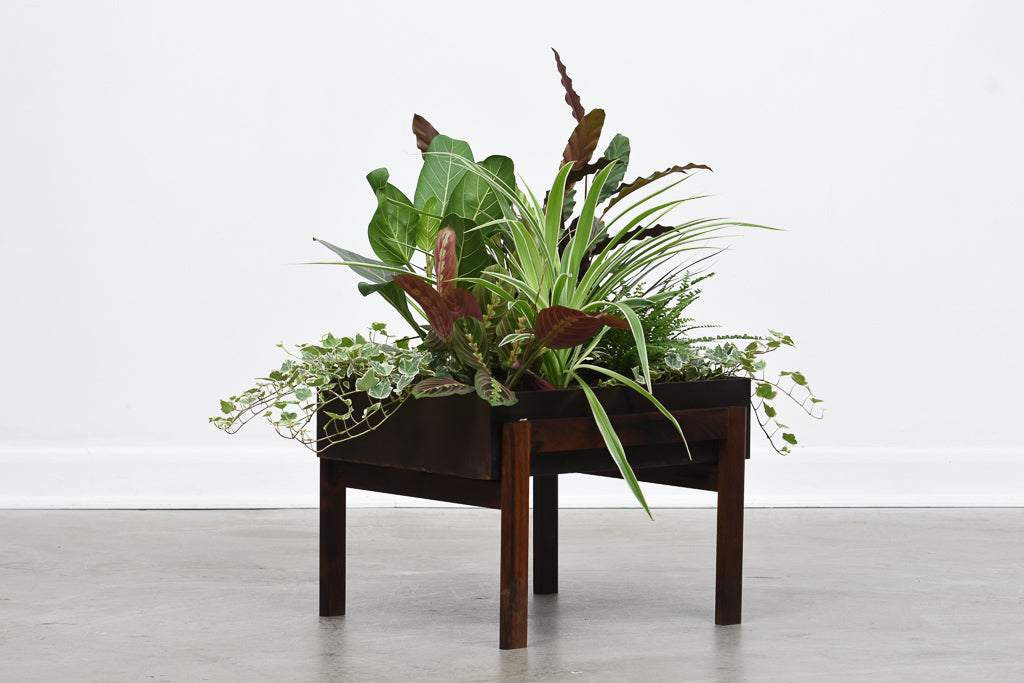 Two available: Vintage rosewood + metal planters