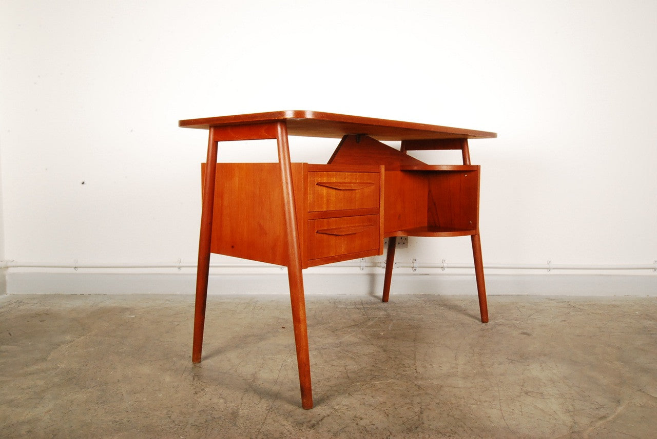 Teak desk with splayed legs