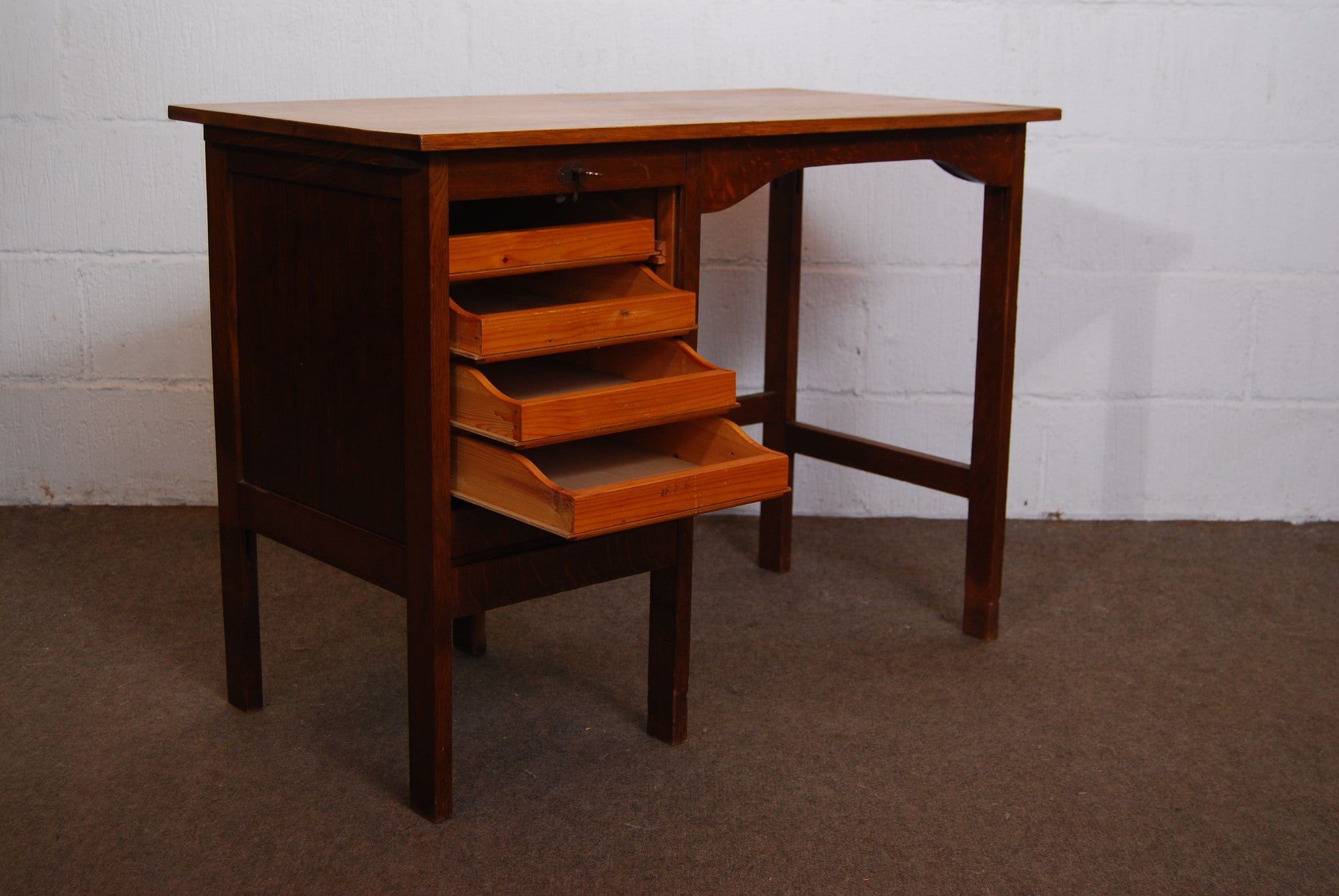 1940s stained oak childrens desk