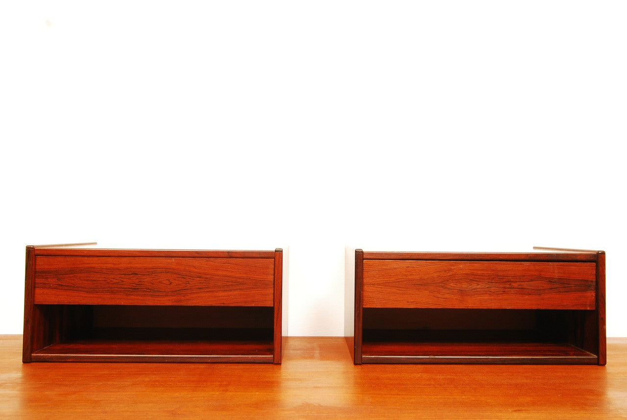 Pair of rosewood floating shelves