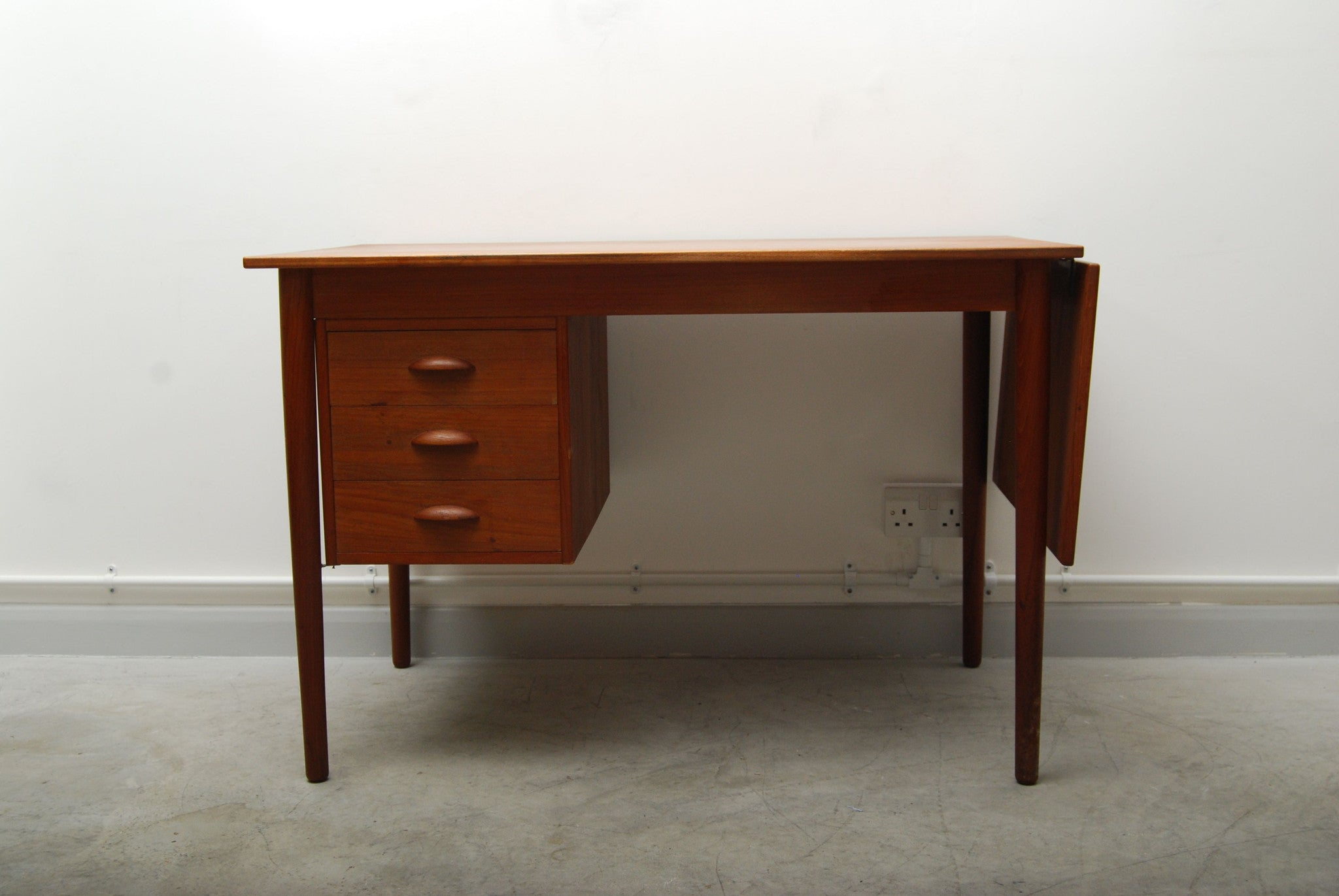 Teak desk with drop leaf extension
