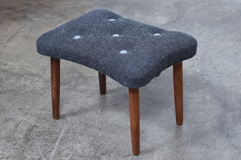 Teak + wool foot stool