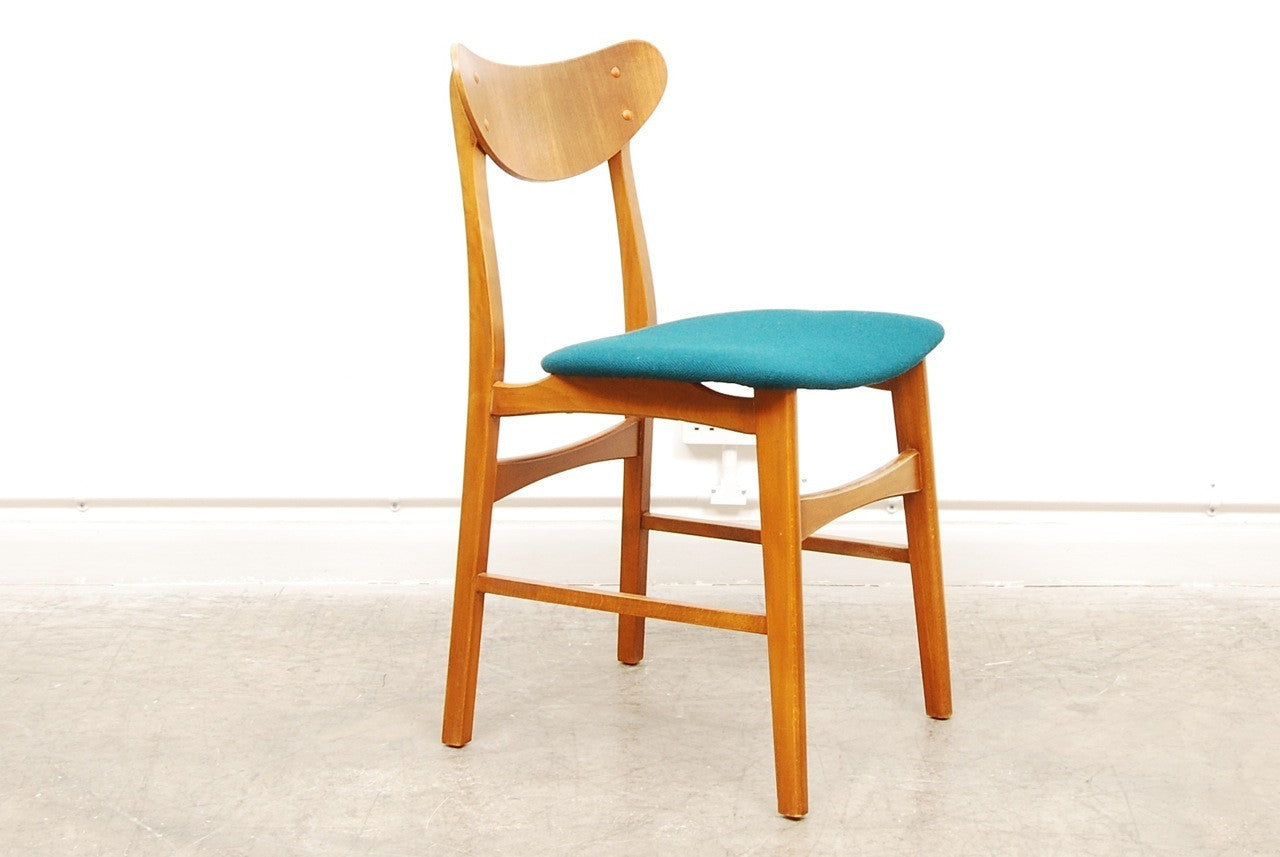 Set of four teak and beech dining chairs