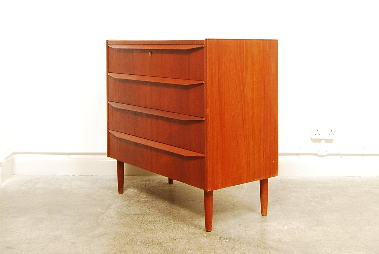 Short chest of teak drawers