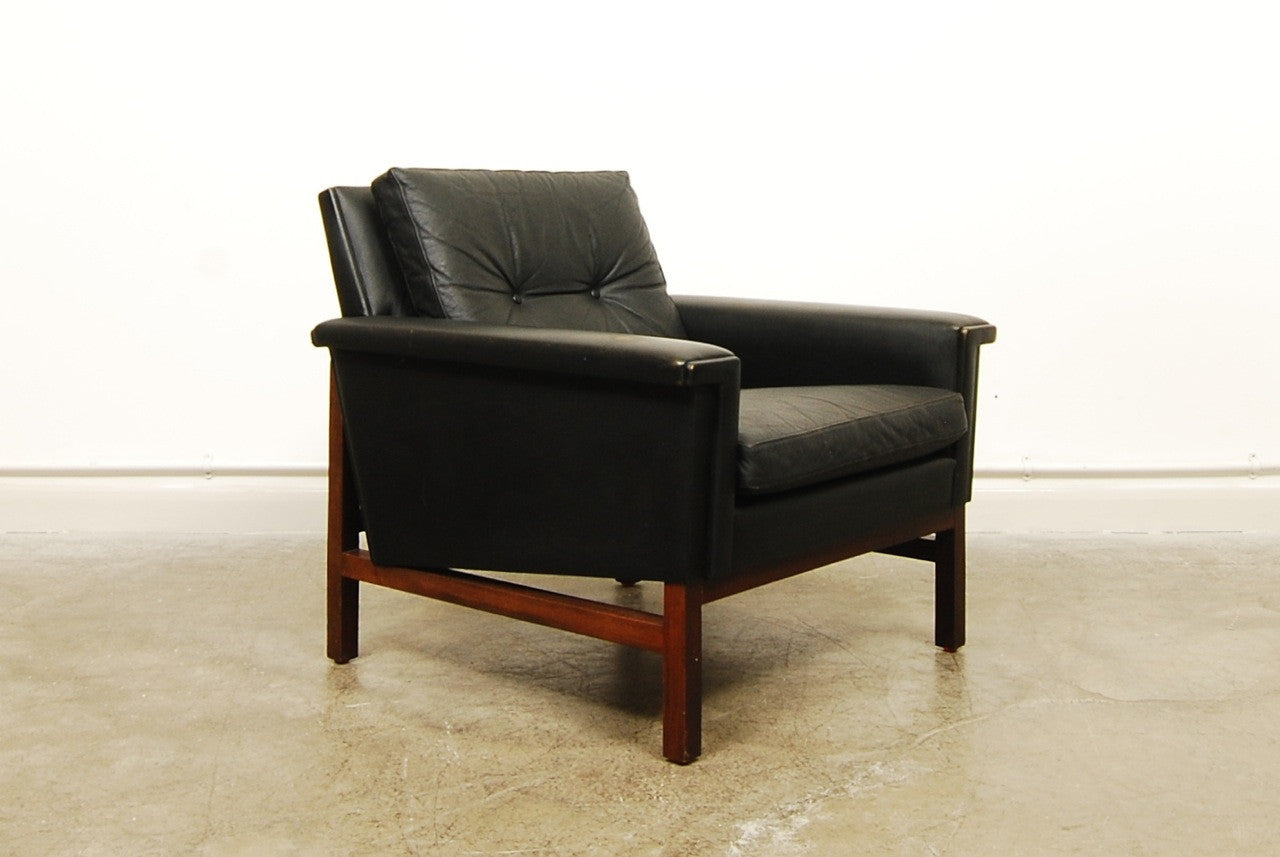 Chase & Sorensen Black leather lounger
