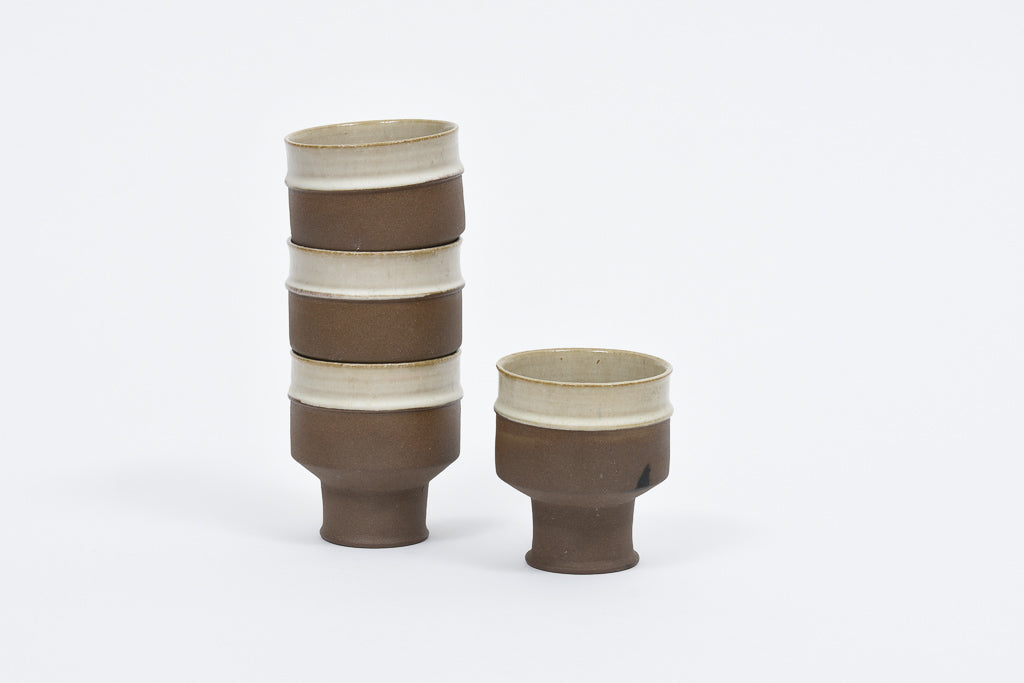 Set of stoneware ceramic cups
