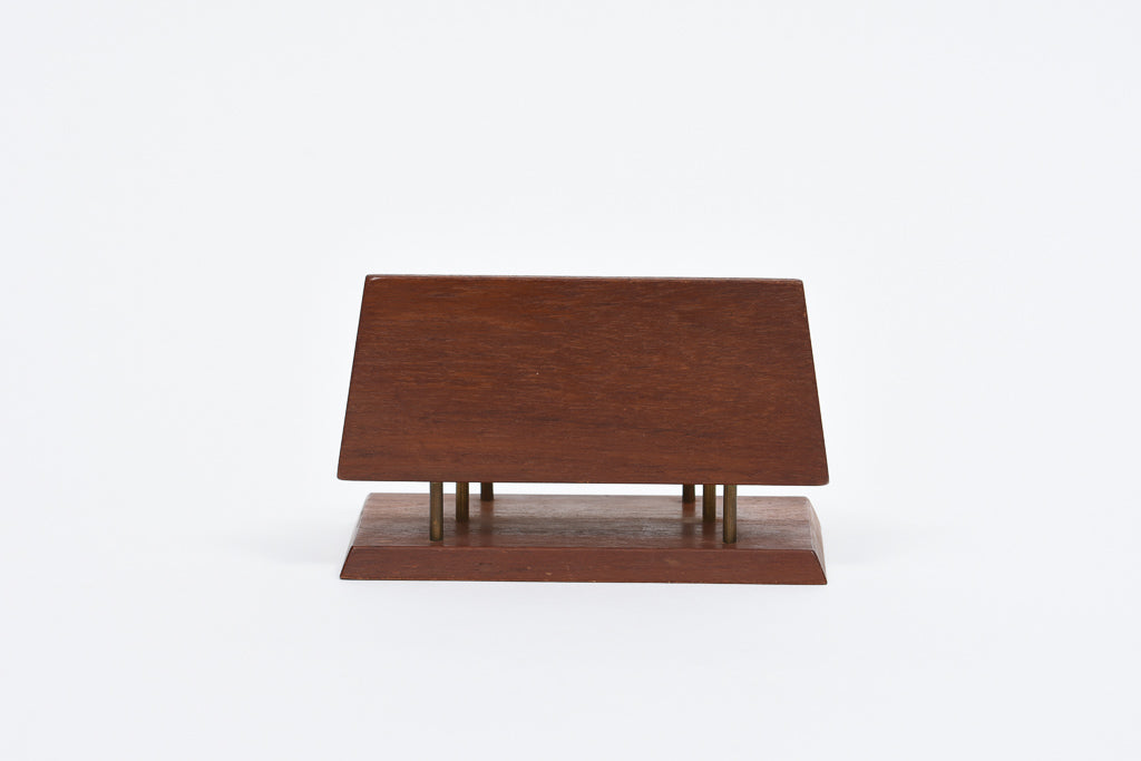1960s teak + brass mail tidy