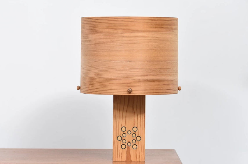 1970s pine table lamp by Pileprodukter