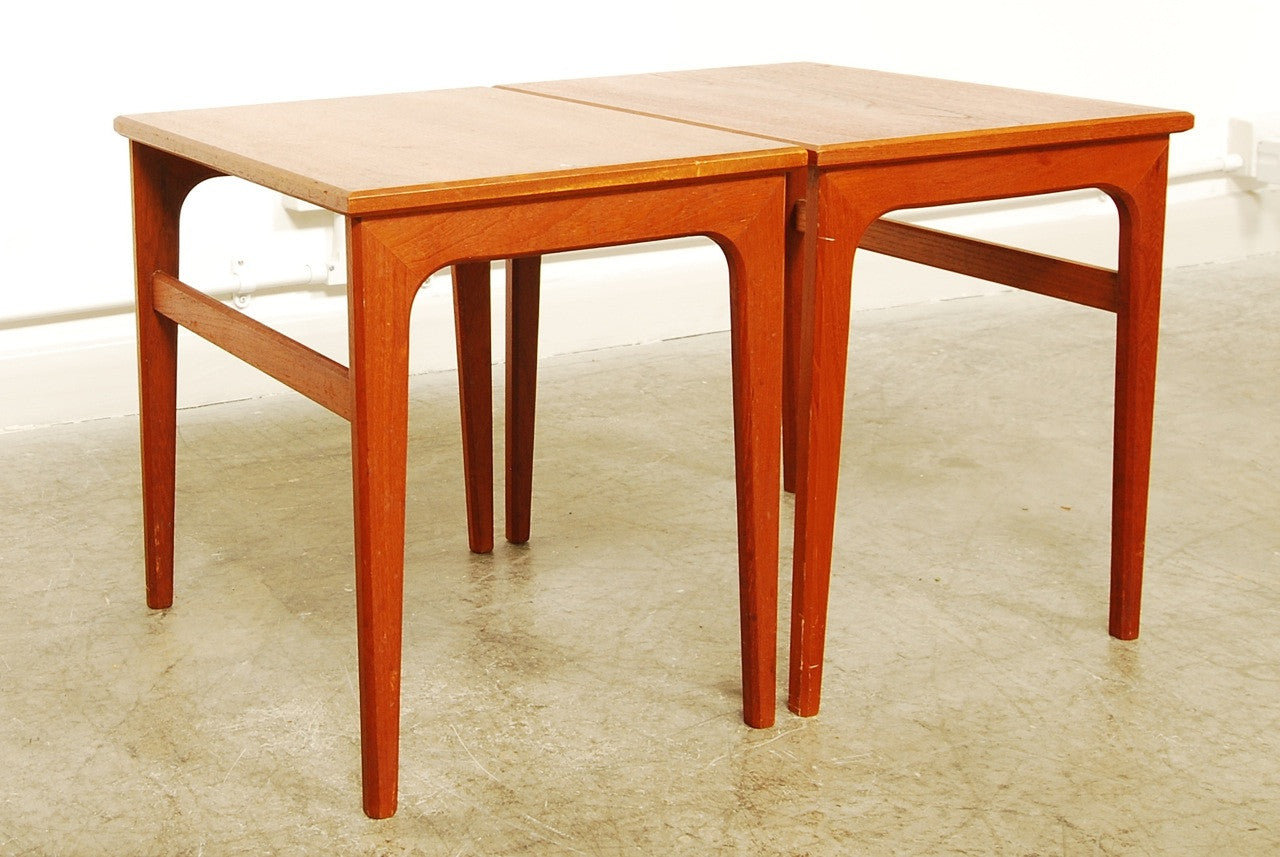 Pair of matching side tables in teak