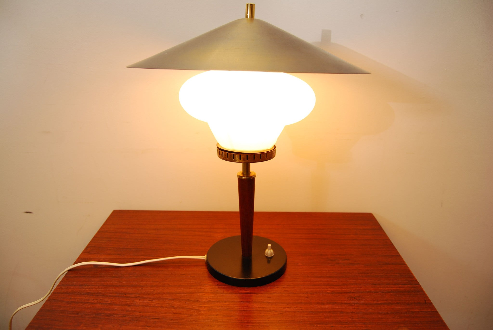 Glass, teak and brass table lamp
