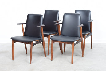 Set of four rosewood + teak chairs by Hans Olsen