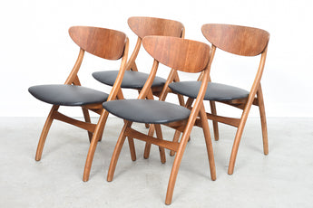 Set of four teak + oak dining chairs
