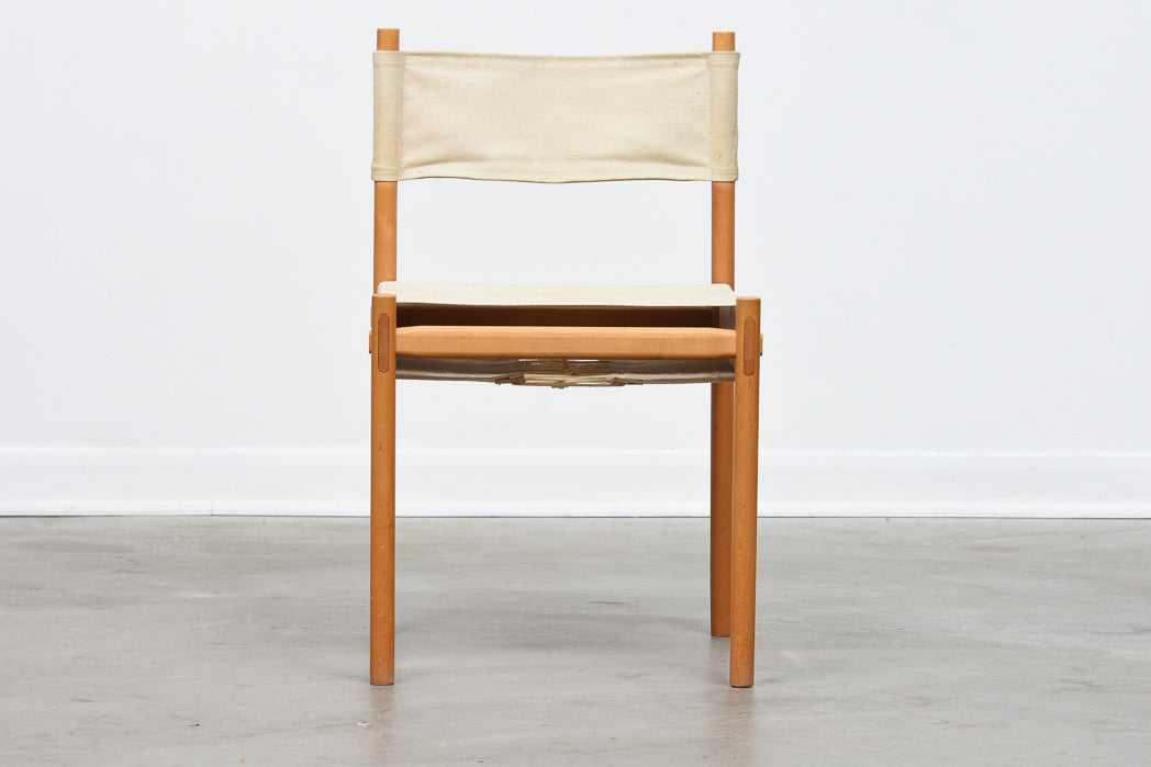 1970s beech and canvas chair