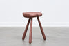 Lacquered oak milking stool - Rose