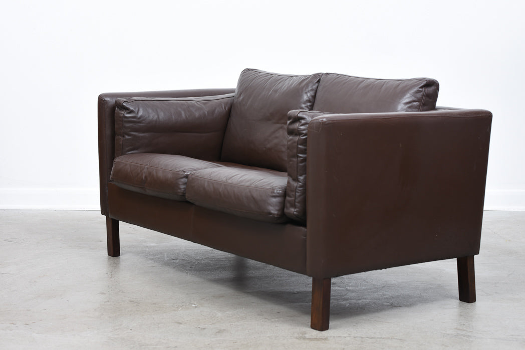 Two seat leather box sofa