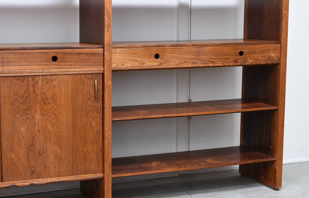Freestanding shelving system in rosewood