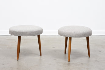 Two available: 1960s foot stools with new wool upholstery