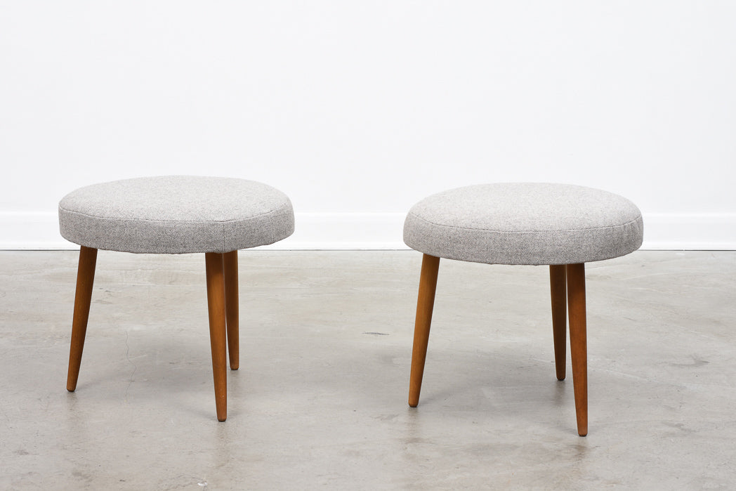 1960s foot stools with new wool upholstery