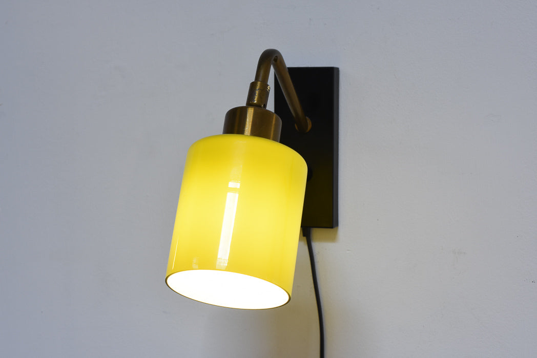 Pair of glass + brass wall lights by Fog & Mørup