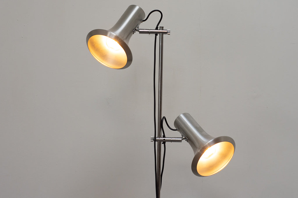 Twin-headed floor lamp with metallic finish