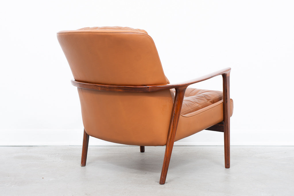 Two available: Rosewood and leather lounger by Inge Andersson