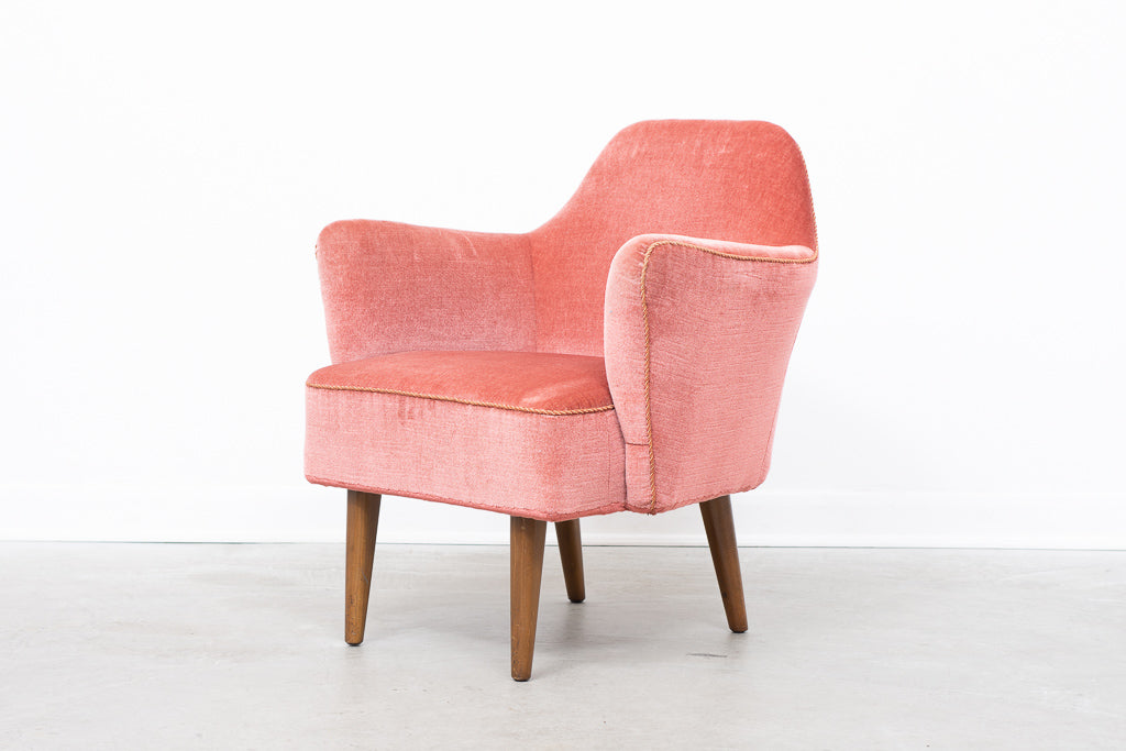 1950s rose velour lounge chair