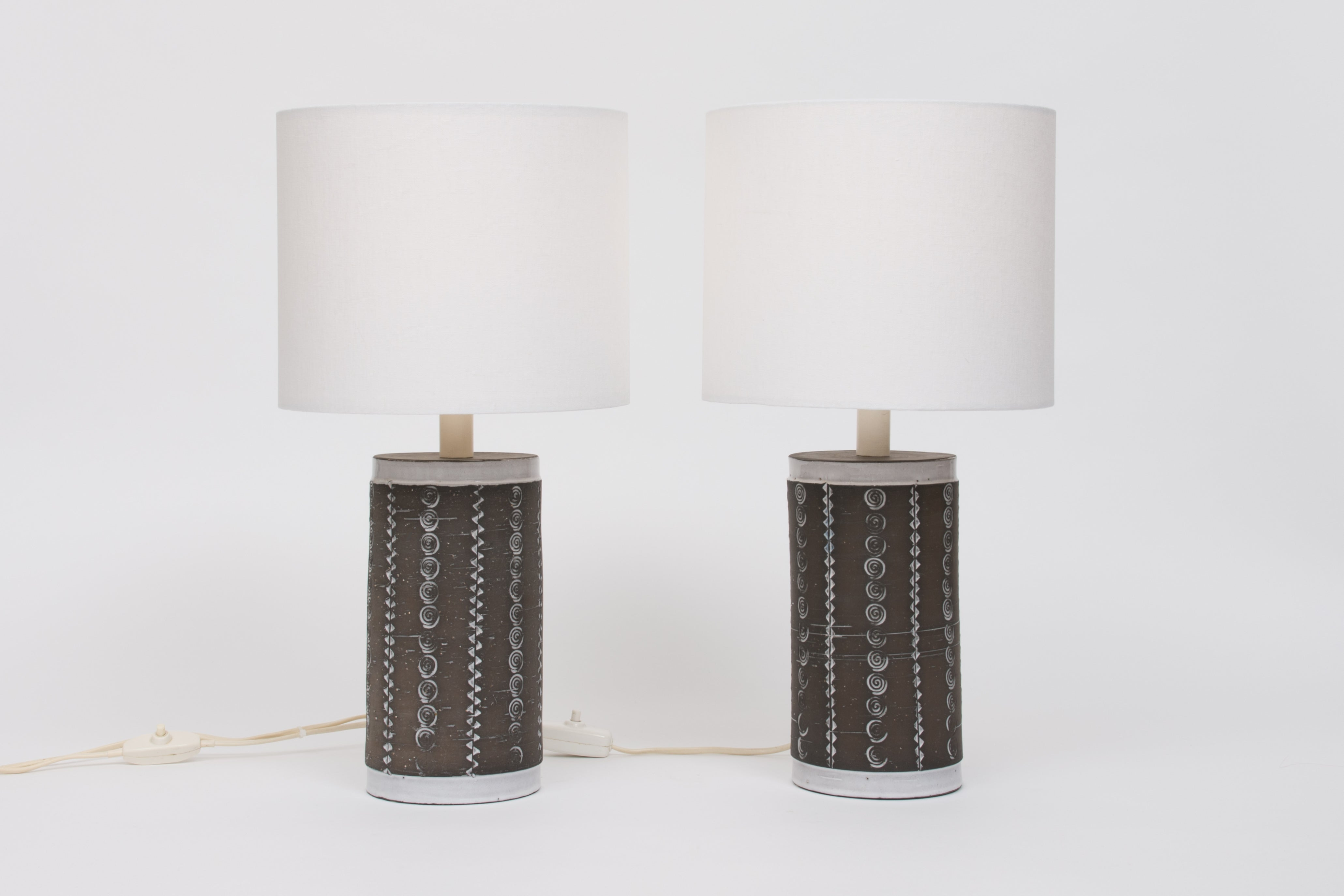 Two available: Vintage Swedish stoneware table lamps