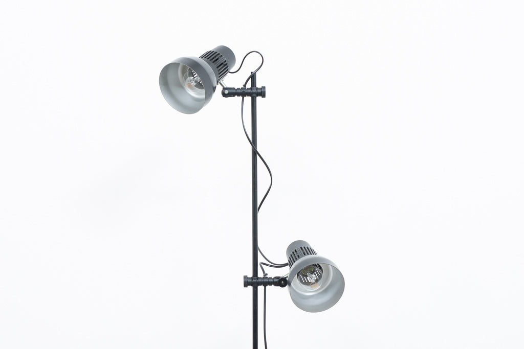 Twin-headed floor lamp with black shades