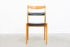 Leather + beech dining chairs by Yngve Ekström