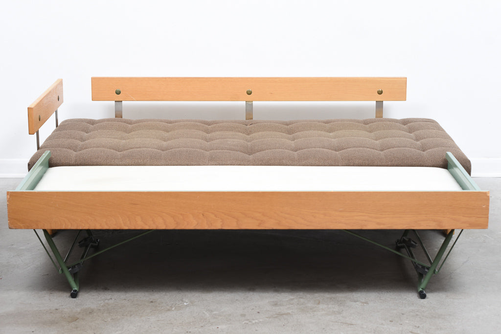 1970s oak double daybed