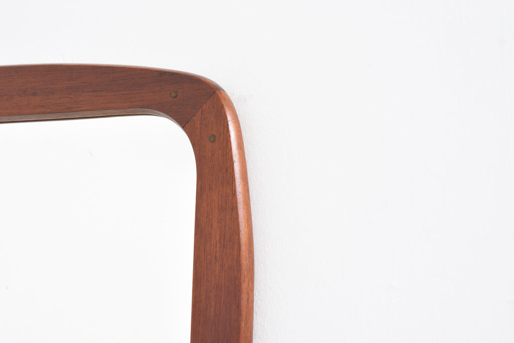 Danish teak-framed mirror with rounded edges