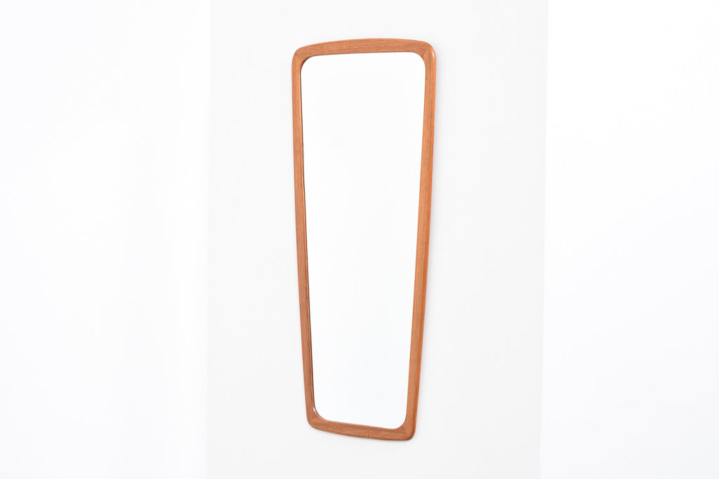 Oblong teak-framed mirror