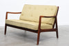 New upholstery included: 1950s two seat sofa by France & Daverkosen