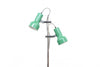 Twin-headed floor lamp with green shades