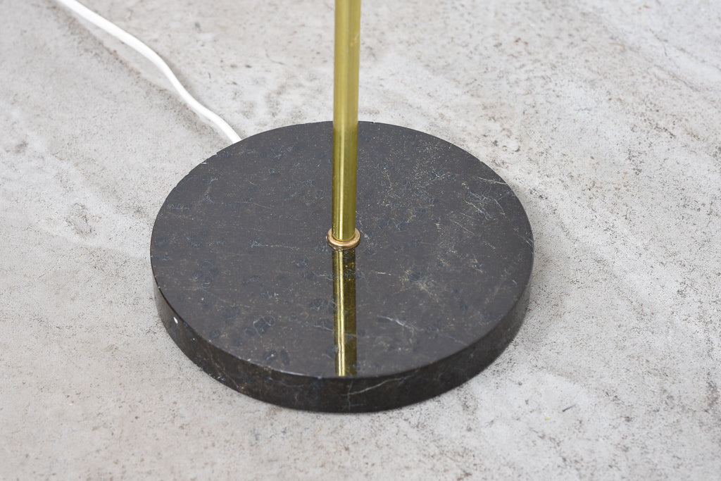 Floor lamp with brass stem + linen shade
