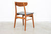 Set of four vintage teak + beech dining chairs