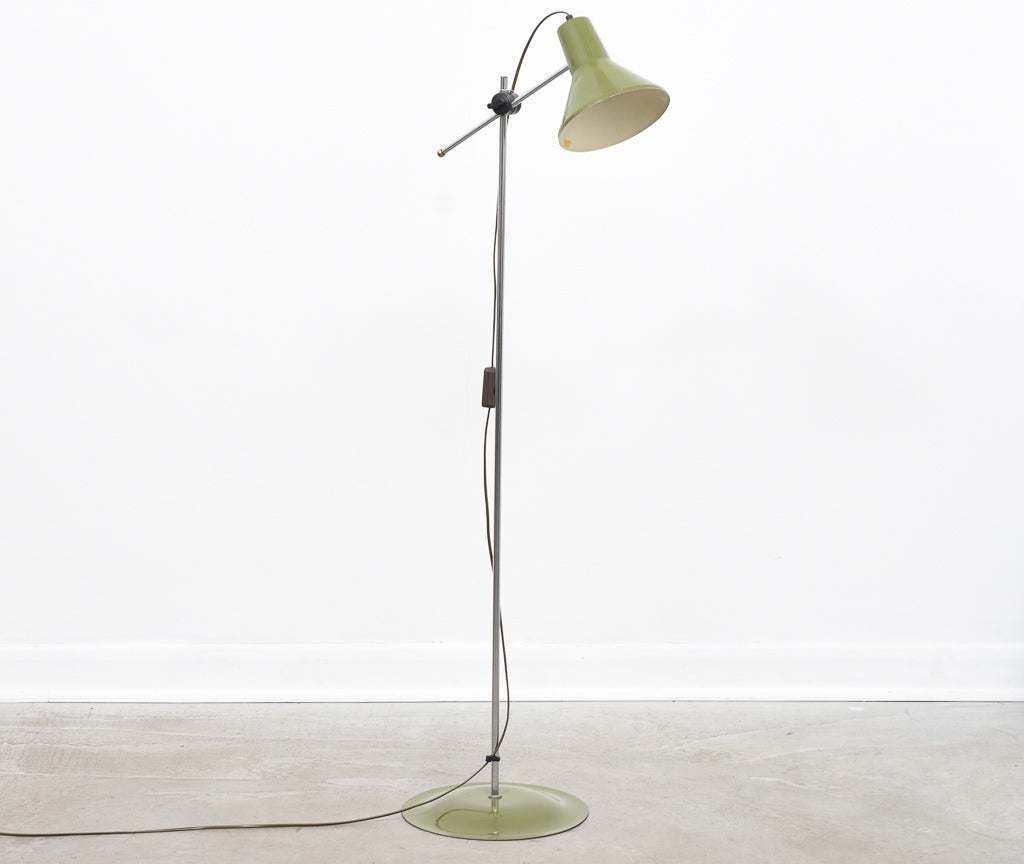 1960s Danish floor lamp with army green finish