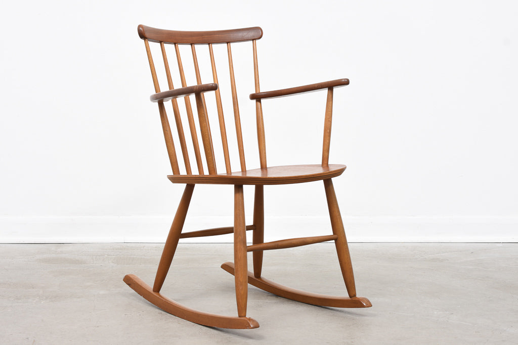 Teak + beech rocking chair