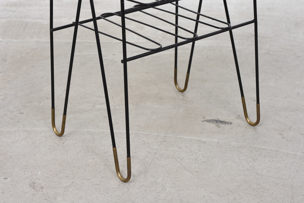 1950s teak + wire magazine table