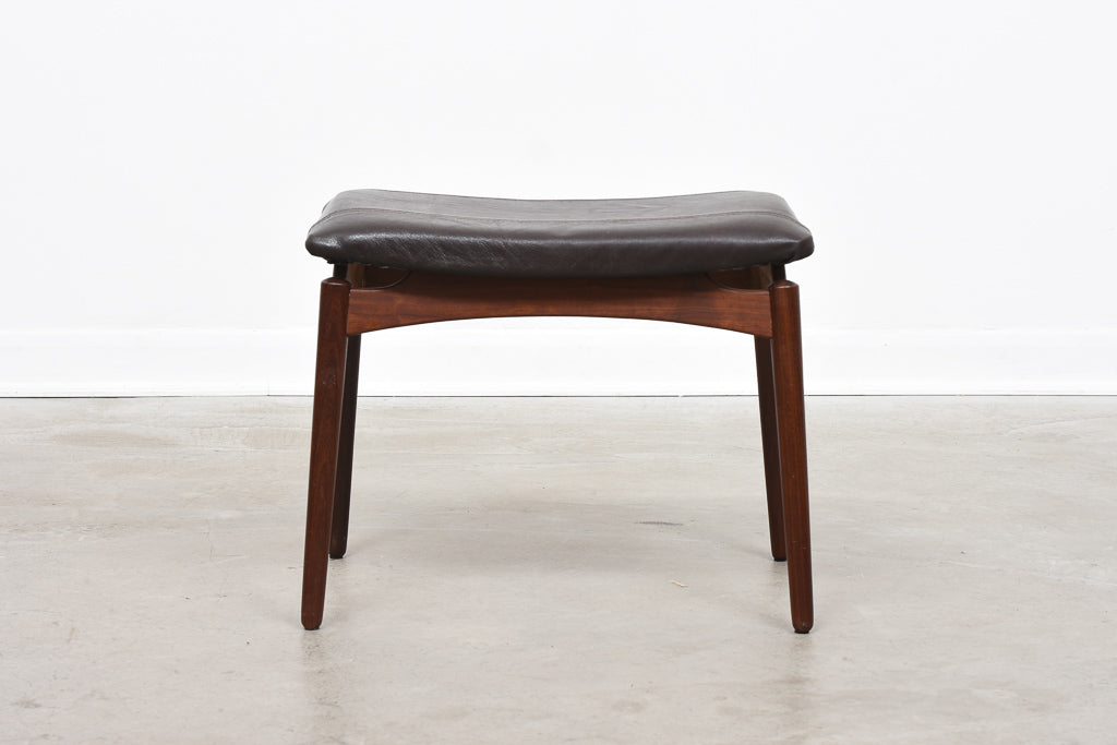 1960s foot stool with leather upholstery