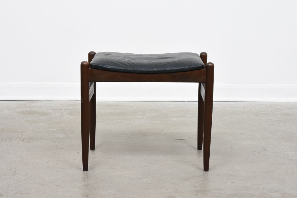 Danish foot stool with leather upholstery