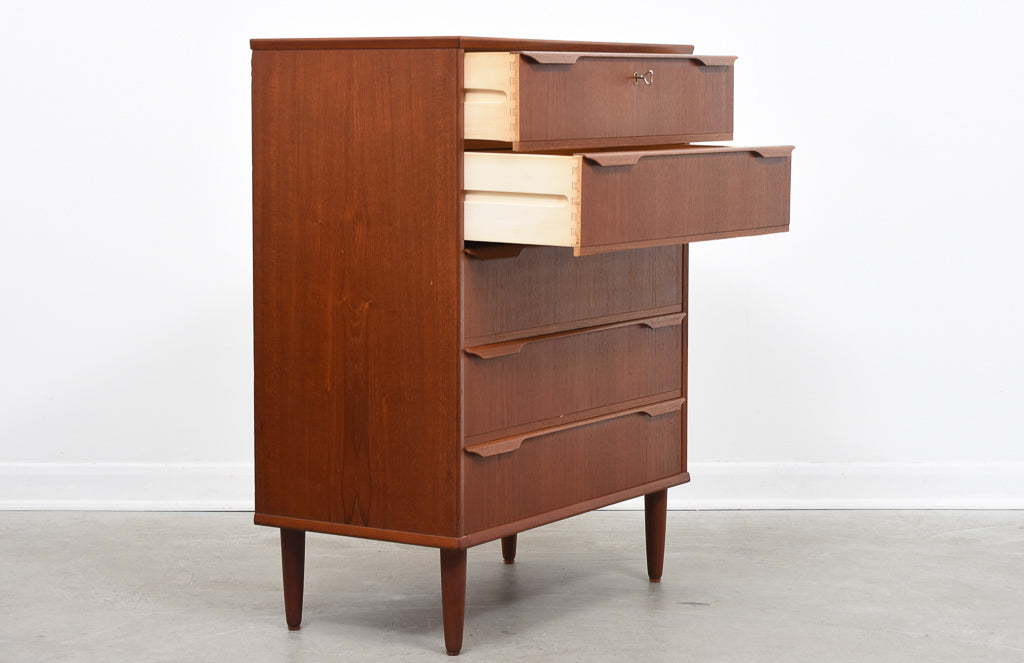 1960s teak chest of five drawers