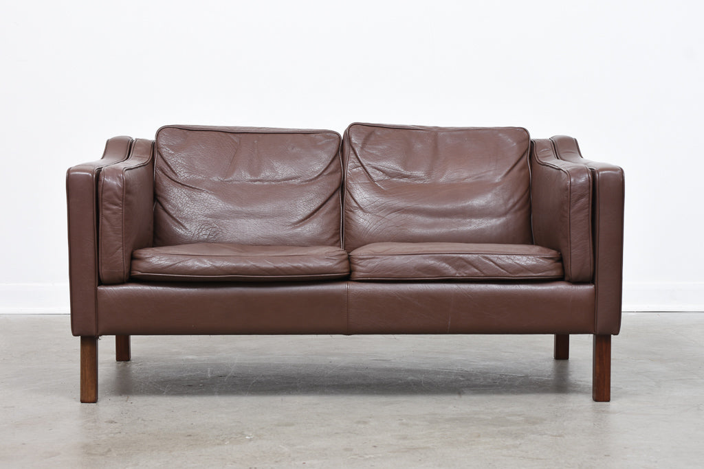 Vintage leather two seat sofa