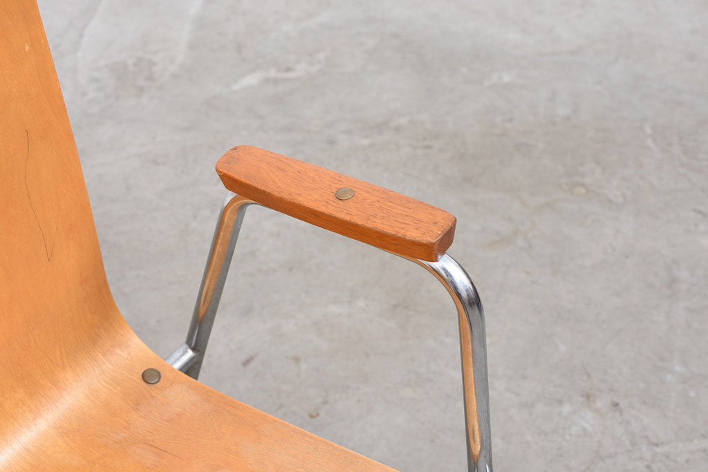 Eight in stock: Vintage Swedish teak + beech stacking chairs